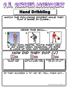 This is another example of partner assessment except it is a dribbling assessment. It shows the correct way a student should be dribbling a basketball.