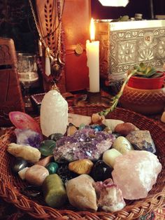 Altar idea: Energy crystals, inspirational stones, candles, and incense support balance and flow, and create ambiance. Crystal Magic, Crystal Grid, Crystal Healing, Crystal Altar, Crystal Garden, Crystals And Gemstones, Stones And Crystals, Wicca Crystals, Crystals In The Home