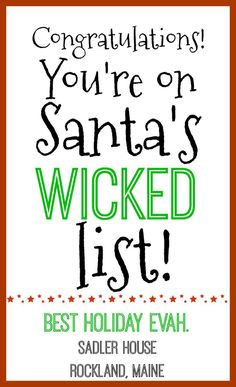 Forget just being naughty or nice. True New England #goals include making the wicked list! Make sure Santa puts a #Maine vacation in your stocking for next year. Book at Sadler House without service fees and stay in beautiful #Rockland. #holiday #holidayhumor #santa #santaclaus #newengland #Maine #Rockland #christmas #christmastime #holidayseason