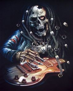 skeleton with guitar images | Rasta Guitar Player T-shirt