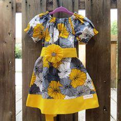 Charcoal Gray Mustard Yellow Peasant dress,Thanksgiving girls outfit, Handmade Girls Dress, toddler dress, Flower Girls Fall dress