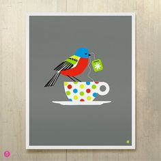 painted bunting large limited edition print by beethings on Etsy