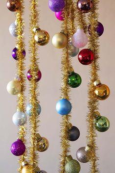 Rainbow Baubles & Tinsel Garland - View All Christmas - Christmas Christmas Tinsel, Hanging Christmas Tree, Christmas Gift Wrapping, Christmas Colors, Simple Christmas, Christmas Crafts, Christmas Garlands, Bohemian Christmas, Whimsical Christmas