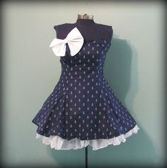 Womens Navy with White Anchor Print Dress by offbeatvintage, $66.00
