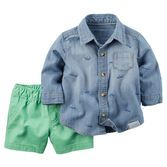 He's set for spring in a printed button-front and green twill shorts. Just add casual sneakers!