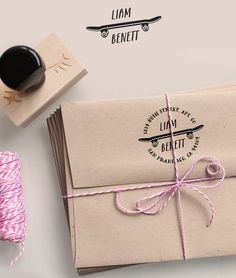 Custom return Address Stamp with a skateboard, the address and your name - perfect for back to school/scrapbook