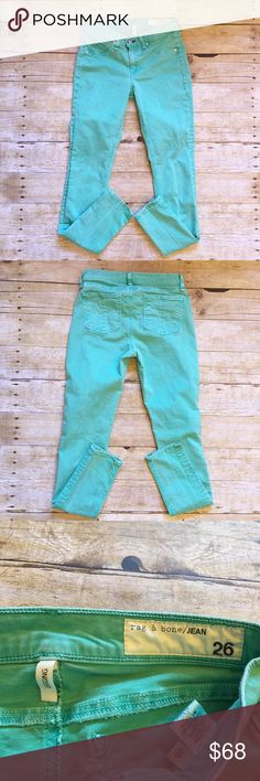 Seafoam rag & bone/ Jean, skinny legging, size 26 Very good condition rag & bone legging jeans in a size 26. Almost a jeggings kind of material. Very comfortable! No significant flaws, minor wash wear, but were also bought new with a fade look. A lot of life left to these jeans! Front pockets are fake. Please see the last photo for the color chart with the more exact coloring of the pants. The color was slightly off in the photos. Waist- 12.5 inches, rise- 8 inches, inseam- 27.5 inches. rag…