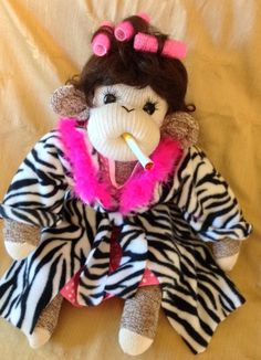 Sock Monkey Polly Esther, Queen of the trailer park.  Made by hand in the USA. on Etsy, $50.00