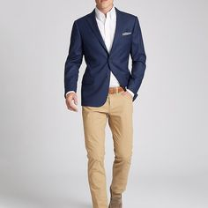 Khaki 5-pocket pants are an easy sub for the navy suit trouser. And the suit…