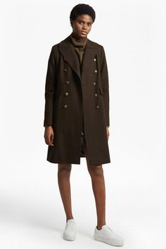 French Connection Back Detail Military Long Coat