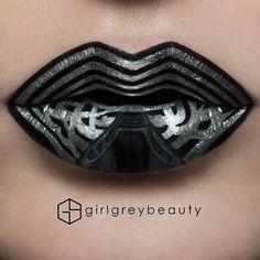 #MayThe4thBeWithYou!  Kylo Ren's mask #LipArt. He was my fav from the latest film... Who was yours? Products: @anastasiabeverlyhills Liquid Lipstick in 'Midnight' as the base with @mehronmakeup Metallic Powder + Mixing Medium for the Chrome.