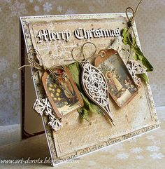 Lots of texture and embellishments..... very pretty cards.
