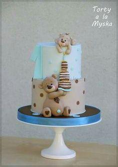 teddy bears by Myska (Cake Design Battesimo) Pretty Cakes, Cute Cakes, Sweet Cakes, Gateau Baby Shower, Baby Shower Cakes, Baby Cakes, Fondant Cakes, Cupcake Cakes, Teddy Bear Cakes