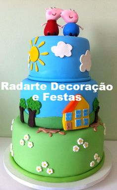 Bolo Cenográfico Peppa Pig - Aluguel Peppa Pig, Bolo Fake, Cake, Desserts, Food, Cotton Candy, Initials, Parties, Fake Cake