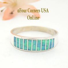 Size 14 Light Blue Fire Opal Inlay Wedding Band Ring Ella Cowboy WB-1611 Four Corners USA OnLine Native American Jewelry Wide Wedding Bands, Wedding Band Styles, Engagement Wedding Ring Sets, Four Corners Usa, Swarovski, Alternative Wedding Rings, Native American Rings, Schmuck Design, Band Rings