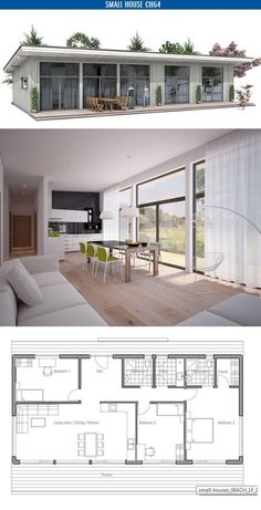 Small home plan. Suits best to wide lot. Master bedroom with separate bathroom. Small home design with big windows.: