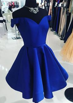 Off the Shoulder Royal Blue Prom Dress, Fashion Pageant Dress, Short Homecoming Dress - Homecoming Dresses Simple Homecoming Dresses, Royal Blue Prom Dresses, Blue Wedding Dresses, Prom Dresses Blue, Cheap Dresses, Dress Prom, Dress Wedding, Dresses Dresses, Short Sweet 16 Dresses