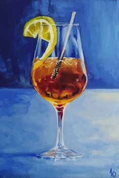 A glass of refreshment by Antonia Dewey. Oil on panel, unframed, 25 x 35 cm ( 9.8 x 13.7 in ) - Available Still Life Art, Traditional Art, Alcoholic Drinks, Paintings, Oil, Glass, Paint, Drinkware, Painting Art