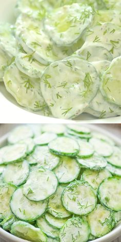 This Creamy German Cucumber Salad is simple, crunchy, and very tasty. It makes a perfect side to any dish and youll want to eat it all summer long. Cooktoria for more deliciousness! German Cucumber Salad, Creamy Cucumber Salad, Creamy Cucumbers, Cucumber Recipes, Chicken Salad Recipes, Healthy Salad Recipes, Veggie Recipes, Diet Recipes, Healthy Snacks
