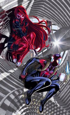 WHile waiting, LET's Take a Selfie ,OKay ? () original artwork of Scarlet Spider MJ #001 cover by FooRay and artwork title: Ultimate Spider-Man on the Wall by Jonathan Piccini on deviantArt