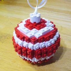 Set of 4 Red and White Ball Ornaments by FoldedFancy on Etsy
