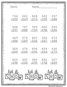 Winter Themed 3 Digit Subtraction With Regrouping Subtraction Worksheets, Multiplication, Math Activities, Teaching Resources, Math Sheets, Math Addition, Math Practices, Math Stations, 2nd Grade Math