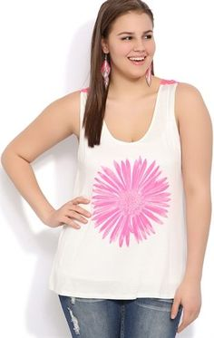 Deb Shops plus rayon span tank with neon pink crochet back and neon pink daisy $17.92