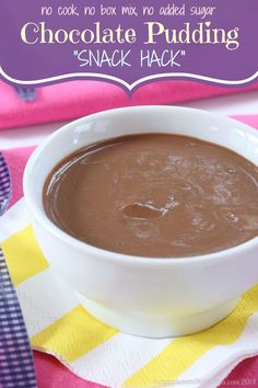 "Chocolate Pudding ""Snack Hack"" - just three ingredients, three minutes, and no cooking, no box mixes, and no added sugar for a healthy dessert!"