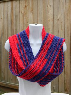 Crocheted scarf, Team spirit scarf, Red and Blue scarf,Teen Scarf, Winter scarf, Womens scarf,