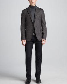Chevron Wool Jacket, Wool Long-Sleeve Turtleneck & Slim Stretch-Denim Jeans by Armani Collezioni at Neiman Marcus.