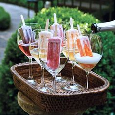 popsicles dipped in wine? yes please! Works like a flavored ice cube:) The Chew recommends using Proseco:)
