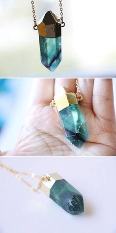 Rainbow Fluorite necklace Raw Crystal Quartz Necklace Raw