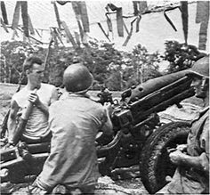 US Marine artillery crew on Guadalcanal operating a 75mm pack howizter. The jungle environment created unique problems for observers because of the tree canopy. The climate was also corrosive to ammunition.