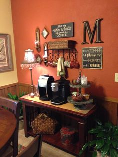 New coffee bar.I love the coffee signs Coffee Bar Station, Coffee Station Kitchen, Tea Station, Coffee Bars In Kitchen, Home Coffee Stations, Beverage Stations, Coffee Nook, Coffee Corner, Coffee Cafe