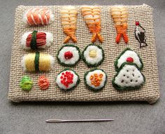 Miniature embroidered sushi by The Smallest Forest