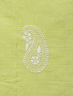 Green-White Chikankari Handloom Khadi Blouse Fabric by Jaypore Embroidery On Kurtis, Kurti Embroidery Design, Hand Embroidery Videos, Hand Embroidery Flowers, Embroidery On Clothes, Hand Work Embroidery, Simple Embroidery, Embroidery Techniques, Ribbon Embroidery