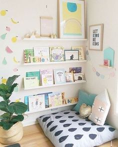 It's always fun to decorate a space for the kids. You get to choose from a lot of fun and cute furniture pieces and lots of fresh and playful colors. Make these IKEA Picture Ledges as Bookshelves for any bedroom. Playroom Design, Kids Room Design, Playroom Decor, Playroom Ideas, Kid Playroom, Bedroom Designs, Little Girls Playroom, Kids Playroom Storage, Children Playroom