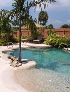 33 Charming Backyard Pool Landscaping Ideas You Will Love - You can give your swimming pool a new and different look simply by adding pool lights. A backyard pool is a lucky thing to have and if you have one, t. Beach Entry Pool, Backyard Beach, Backyard Pool Landscaping, Backyard Pool Designs, Small Backyard Pools, Outdoor Pool, Landscaping Ideas, Small Pools, Beach Pool