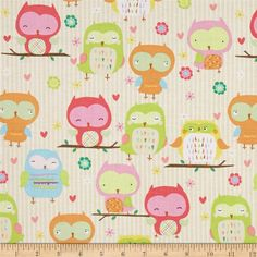 Riley Blake Owl & Co. Owl Main Cream from @fabricdotcom  Designed by RBD Designers for Riley Blake, this cotton print is perfect for quilting, apparel and home decor accents. Colors include yellow, cream blue, pink, green, orange, brown and white.