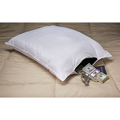 Pillow Safe hides valuables comfortably while you sleep There's no place closer or safer than your pillow for hiding jewelry, cash, passports, even emergency supplies. But until now, there was no way to do that comfortably. Privacy Pillow conceals an inner vinyl pocket with clasp that keeps valuables close at hand yet doesn't disrupt sleep. Take it on road trips, use it during inclement weather, or any time you need quick access.