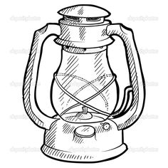 EPS Vector Of Camping Lantern Sketch