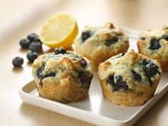 Healthy Greek Yogurt Blueberry Muffins (150 calories) I used 1/2 cup less flour and 1/2 cup more blueberries. I also added a bit more lemon juice and orange juice :)