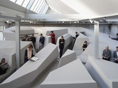 "Dutch design firm RAAAF has built an installation in Amsterdam called ""The End of Sitting."""
