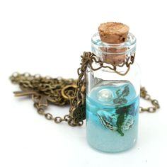Ocean Current Bottle Starfish Shell Glass Pendant Necklace