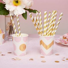 Stylish party supplies for all kinds of event! Baby showers, hen party accessories, tea party decorations and much more - with free delivery over Baby Shower Roses, Deco Baby Shower, Pink Gold Party, Pink And Gold, Candy Stripes, Gold Stripes, O Pop, Kilner Jars, Tea Party Decorations