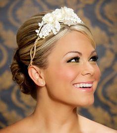Ivory Bridal Headband Elegant Bridal Headpiece Vintage Ivory and White Hair Flowers - Ready to Ship - RUTH