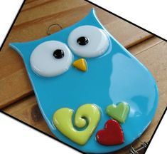 Fused Glass Owl Suncatcher by artisticflair on Etsy
