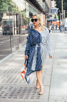Asymmetrical Dress, Print Mix. #Stripes, Spring Style Seasonal Style, OOTD, fashion blogger, women's fashion, street style, outfit inspiration, outfit ideas, outfits, what to wear now, trends, OOTD Inspo, Best Street Style, Street Wear, Ladies Fashion, Spring Style, Blogger Style, #StreetWear