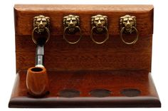 Pipe Accessories Neal Yarm 4 Pipe Lion Head Stand Mahogany Accessories at Smoking Pipes .com