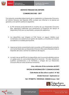 IPD OTORGARÁ COBERTURA DE SEPELIO Y UNA PÓLIZA POR MUERTE A FAMILIARES DE ALESSANDRA CHOCANO